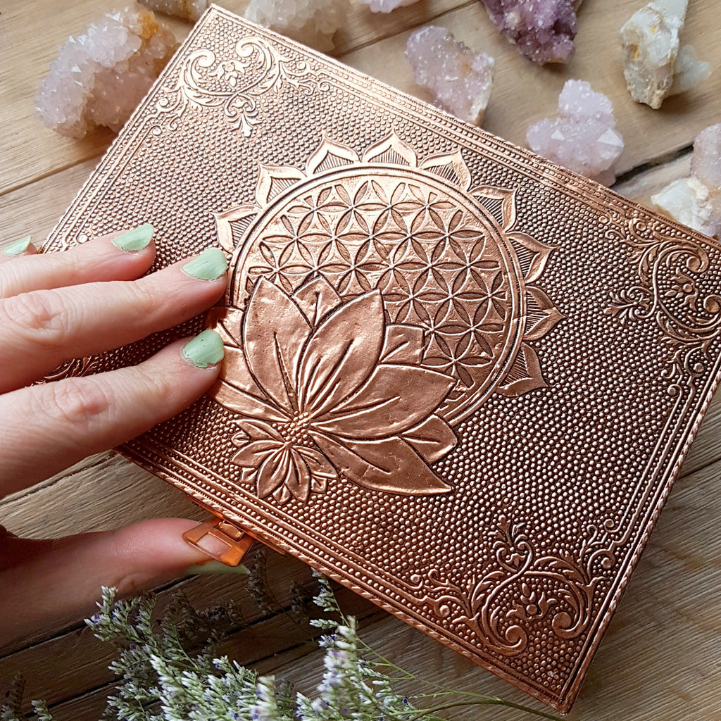 Flower Of Life With Lotus Altar Box Copper Cave Canyon