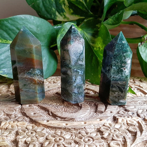 Moss Agate Points - Polished - Short