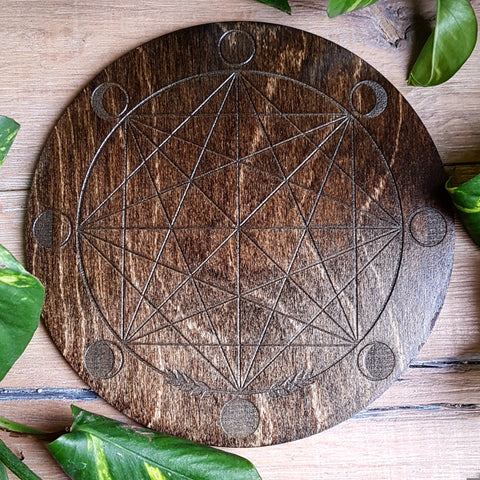 Circular Java Moon Phase Crystal Grid