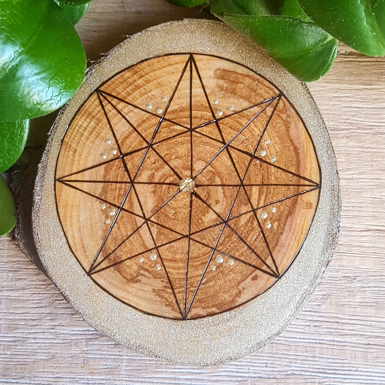 Handburned Octagon Star on Cherry - Champagne Gold