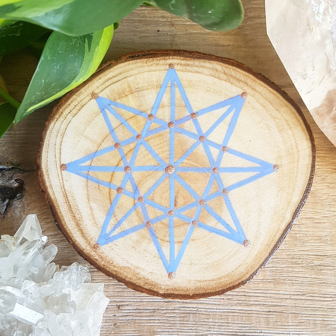 Hand Painted Octagon Star on Willow - Blue & Rose Gold