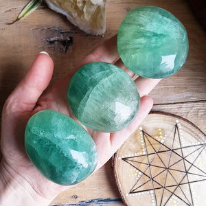 Green Fluorite Palmstone - Polished - Large