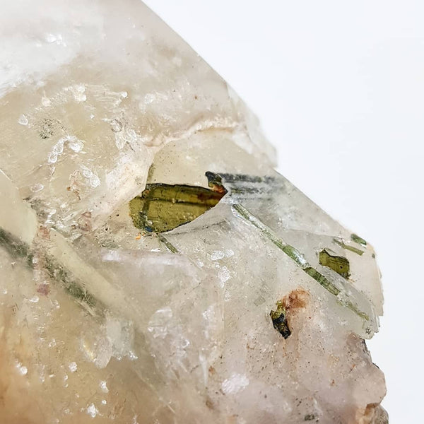 Elestial Citrine Crystal with Green Tourmaline - Natural - Raw - XL