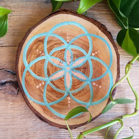 Seed of Life on Cherry - Turquoise & Copper