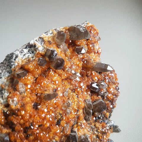 Spessartine Garnet and Smoket Quartz Plate XL - Raw
