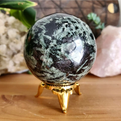 Black & Green Tourmaline Sphere #2 (Polished) - India