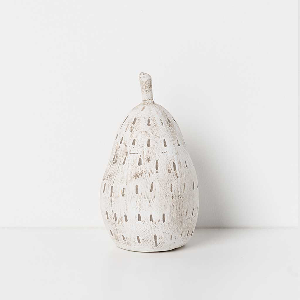 Ceramic Anjou Pear w/ Taupe Stripes