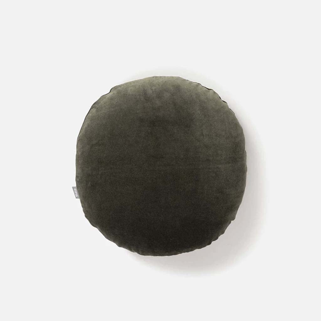 Cotton Velvet Round Cushion Cover - Nori