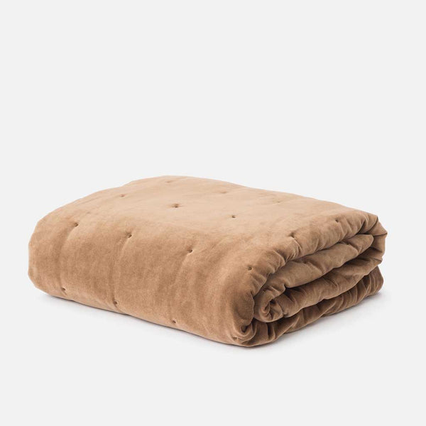 Cotton Velvet Quilted Throw - Toast