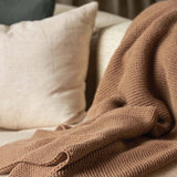 Purl Knit Wool Throw - Walnut