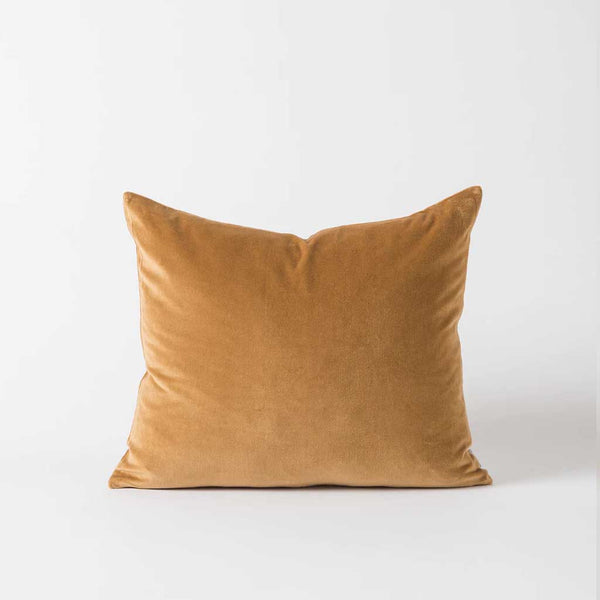 Cotton Velvet Cushion Cover - Curry