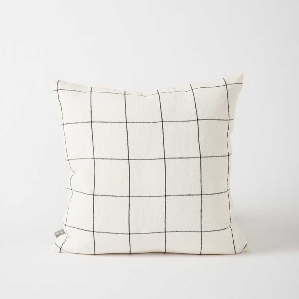 Hand Woven Linen Grid Cushion Cover