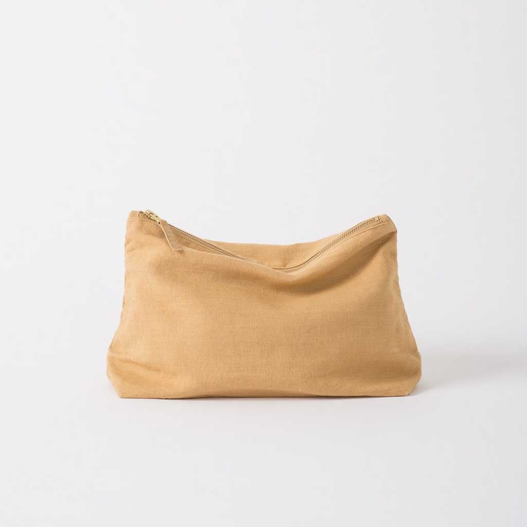 Linen Grid Wash Bag - Citron