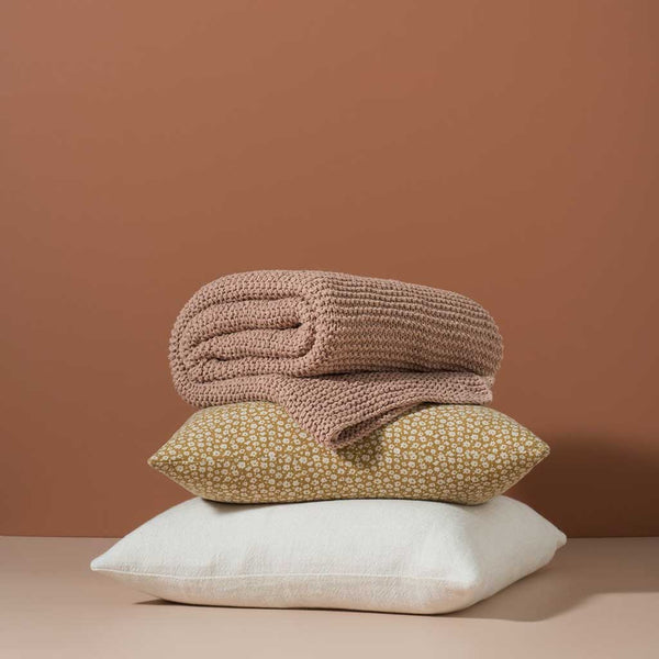 Purl Knit Cotton Throw - Iced Tea