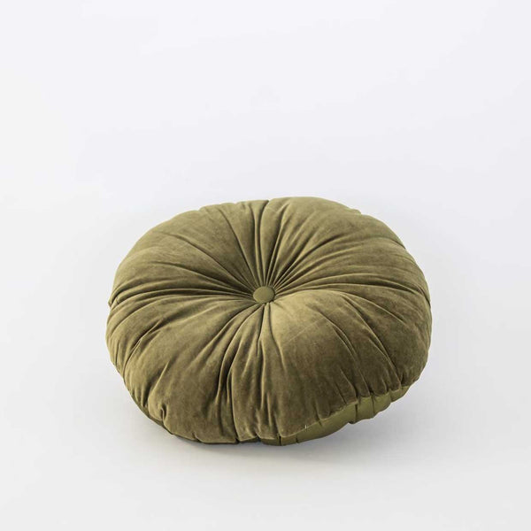 Round Velvet & Silk Cushion - Olive
