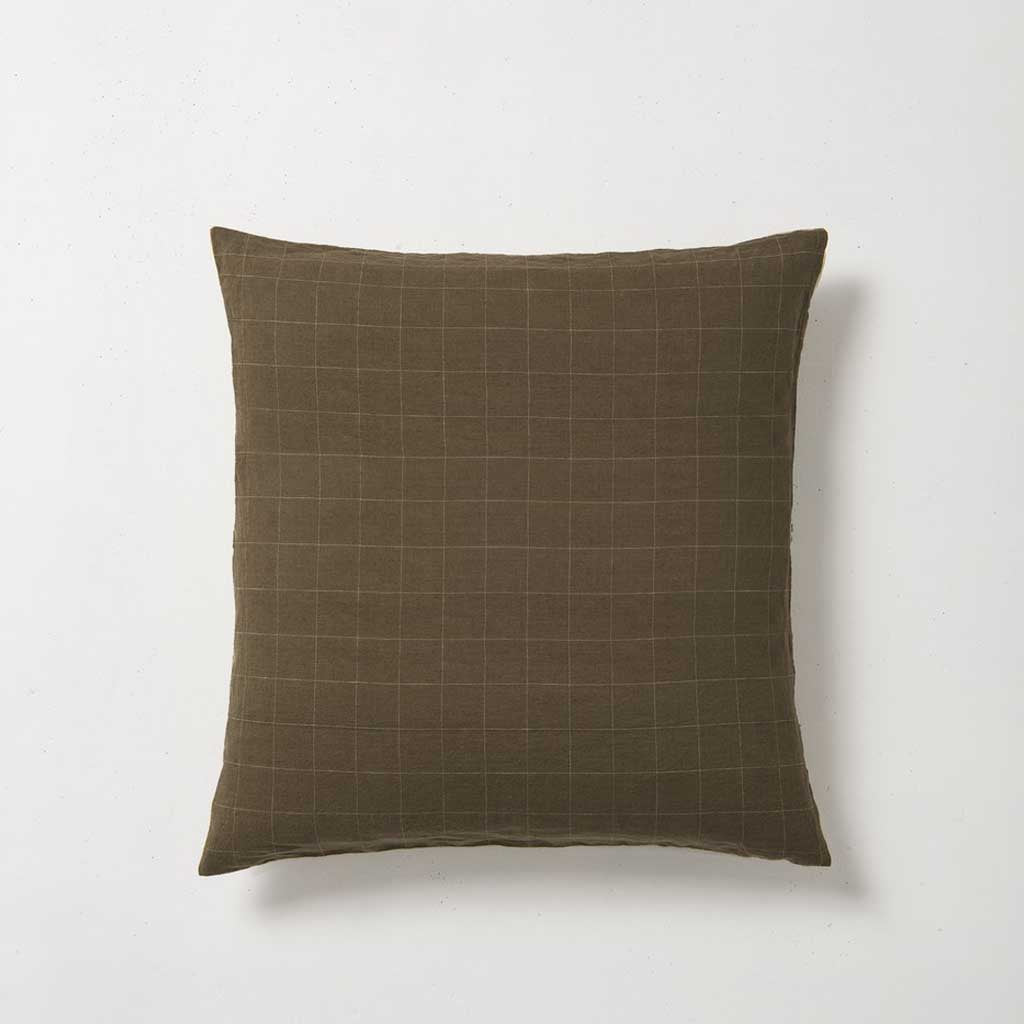 Sove Grid Linen Euro Pillowcase - Seaweed/Olive