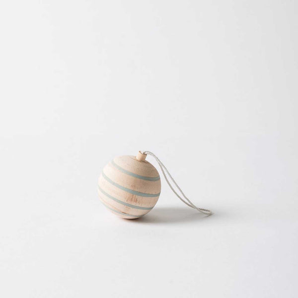 Striped Wooden Bauble Hanging Decoration