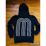 M Collection Classic Premium Hoodie - Black / White Print