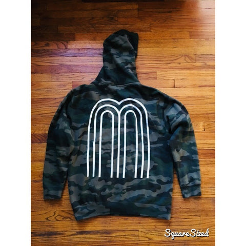 M Collection Classic Premium Hoodie - Camo / White Print