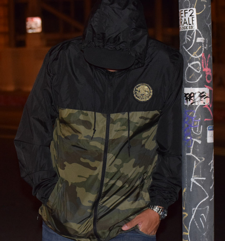 90bdcf3c123fd ... Mexico Classic Light Weight Track Jacket - Two Tone Black/Camo ...