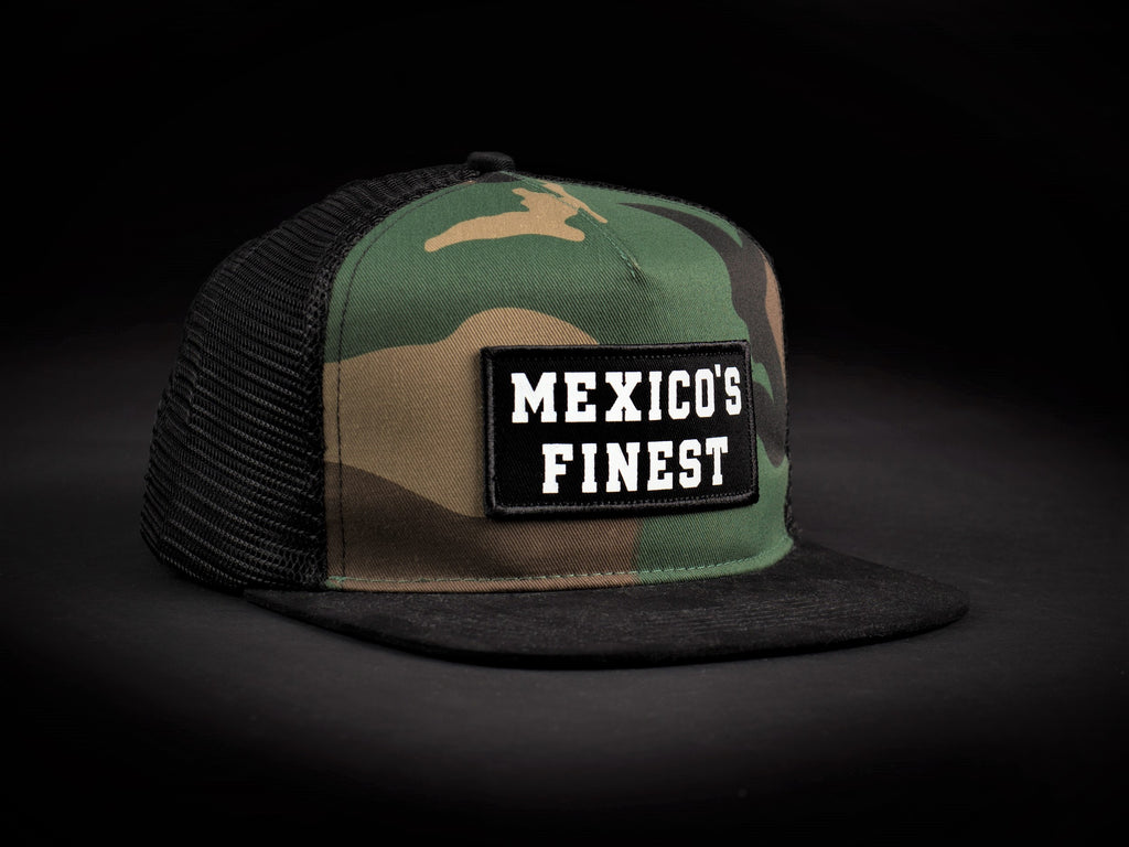 102c18a008fe6 1 MEXICO'S FINEST Camo/Black Patched Trucker Hat