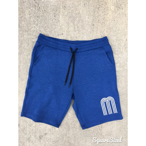 M Royal Blue Premium Tech Shorts W/ White Frontal Print