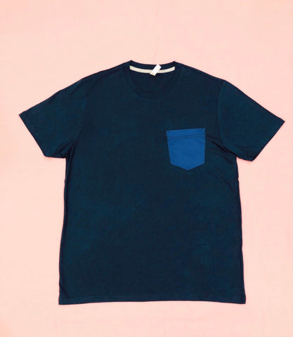 Premium Cut and Sew Navy Pocket Tee- Royal Pocket -
