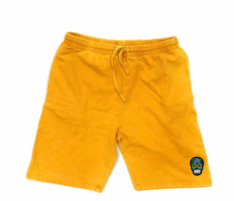 Mustard Calavera Black Tech Short Embroidery Felt Multicolor Patch