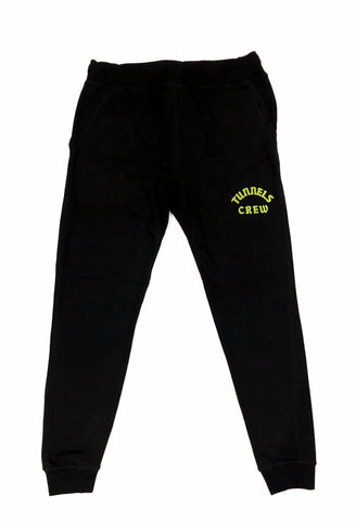 Tunnels Crew Black Tech Jogger With Frontal Olive Print