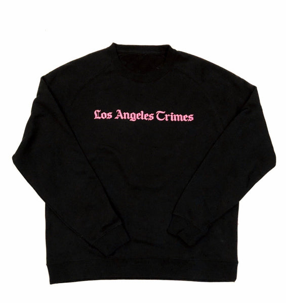 Daily News Los Angeles Crimes  Premium Jet Black Crewneck - Pink Print