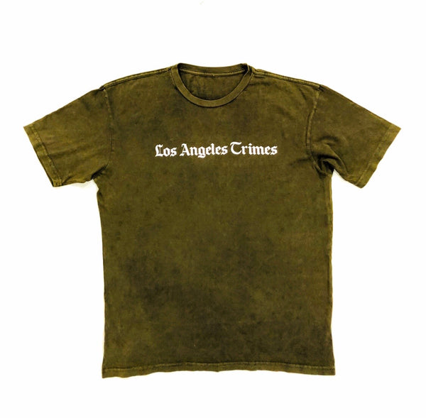 Daily News Los Angeles Crimes  Vintage Olive White Print Tee