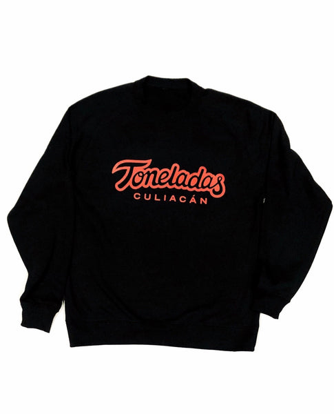 Toneladas BELLY Premium Crewneck Jet Black  - Wine Print -