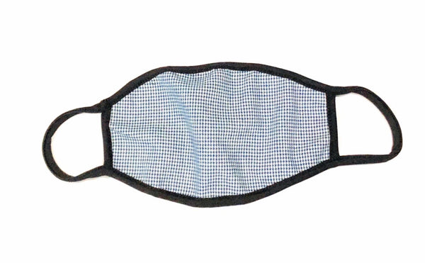 Cloth Face Mask Dark Small Blue Squares - Black Strap