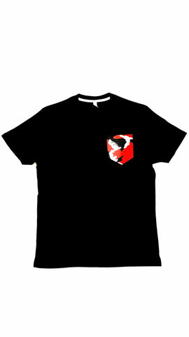 Premium Cut and Sew Black Pocket Tee Red Camo Pocket