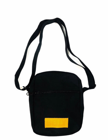 Shoulder Cross Bag - Black - Black and Mustard Leather Accents