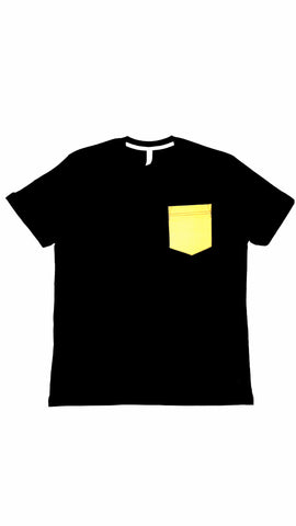 Premium Cut and Sew Black Pocket Tee- Canary Pocket -