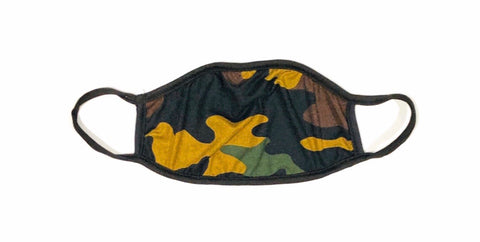 Cloth Face Mask Dark Green Army Camo - Black Strap