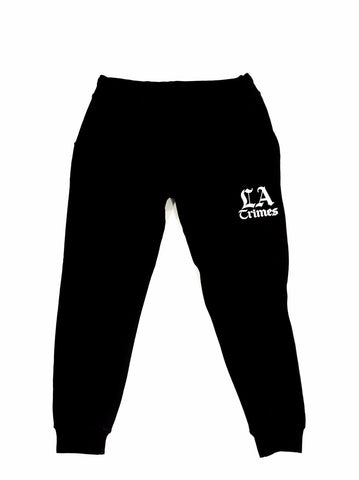 Los Angeles Crimes  Black Tech Jogger W/ White Print