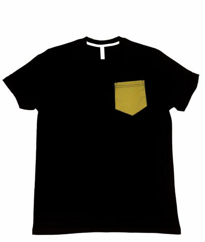 Premium Cut and Sew Black Pocket Tee OLIVE Pocket