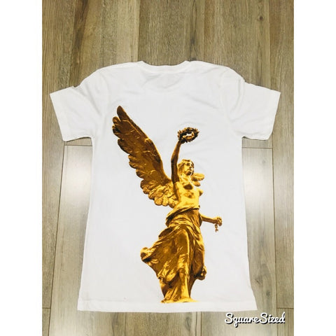 El Angel Tee - White / Gold Print