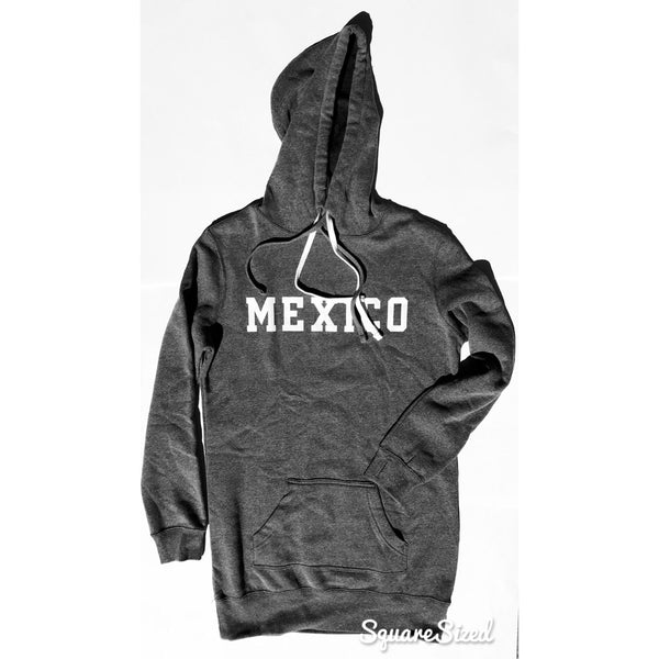 Mexico Pull Over Dress Hooded / Gray White Print