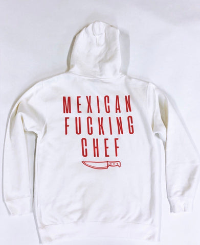 Mexican Fucking Chef  Premium Hoodie - Bone Color / Red Print