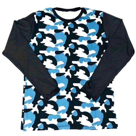 DIRTBAG LONG SLEEVE 100% Custom No Print  Blue Camo / Black Sleeves