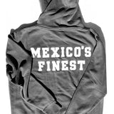 Vintage Mexico Classic Hoodie MEXICO'S FINEST - Premium Gray/ White Print