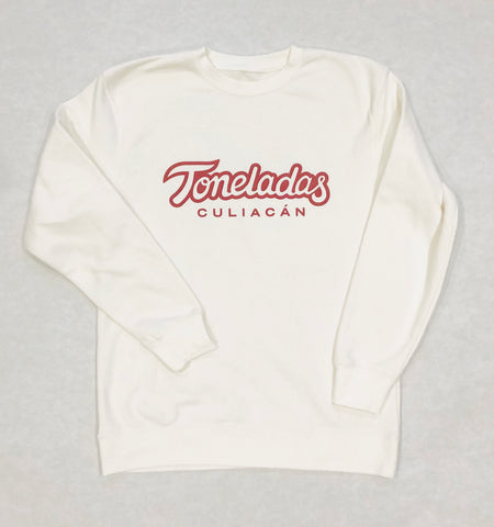 Toneladas BELLY Premium Crewneck Off-White  Color    - Wine Print -