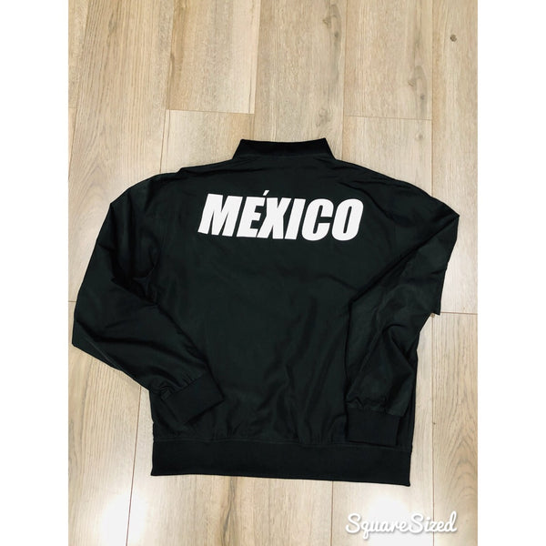 Black MEXICO Bomber Jacket - WHITE Matte Print