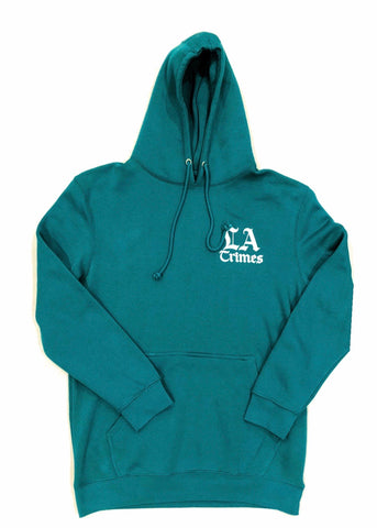Los Angeles Crimes  Premium Aqua Hoodie - White Print