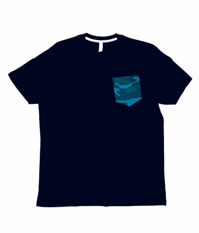 Premium Cut and Sew Black Pocket Tee Blue Camo Pocket