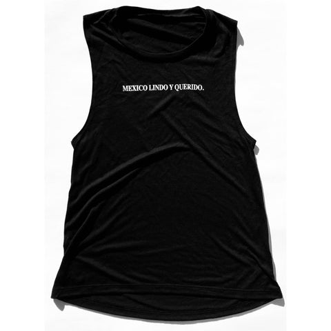 Mexico Lindo Y Querido  Tee Womens Muscle Tank Black Tee / White Print