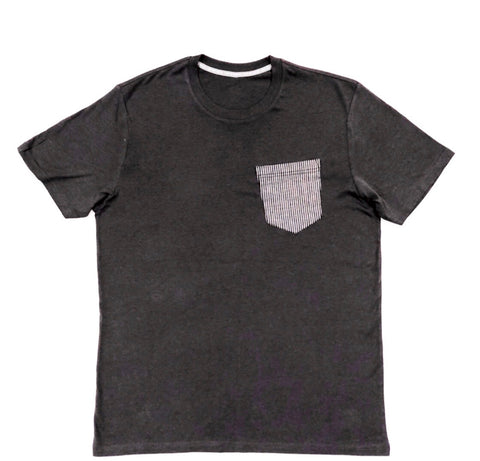 Premium Cut and Sew Charcoal  Pocket Tee - Stripped Navy Pocket  -